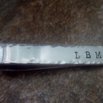 Personalized Tie Bar - Hand Stamped Men's Tie Clip - Custom Tie Tack - Double Sided Message