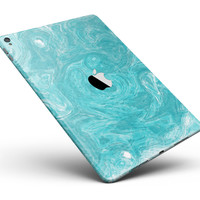"""Marble Surface V1 Teal Full Body Skin for the iPad Pro (12.9"""" or 9.7"""" available)"""
