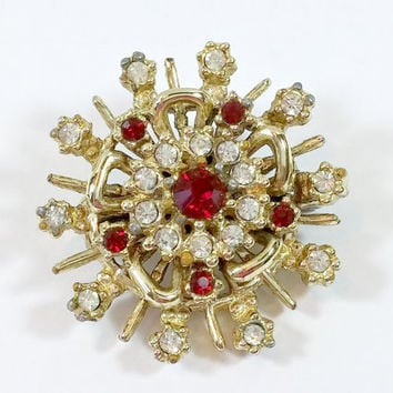 Vintage Rhinestone Brooch Snowflake Starburst Round Ruby Red and Clear Pasted In Rhinestones Sweet Accent Pin Brooch