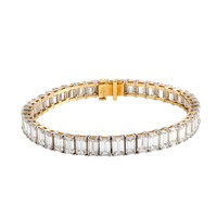 Tiffany & Co. Emerald Cut Diamond Platinum and Yellow Gold Tennis Bracelet