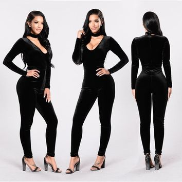L9806 2017 new designer Fashion high grade bodycon velvet jumpsuits spring sexy skinny deep V-neck full length Playsuits