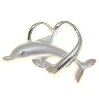 HEAVY SOLID 925 STERLING SILVER HAWAIIAN DOLPHIN THROUGH HEART SLIDE PENDANT