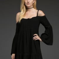 Cutout-Shoulder Peasant Dress