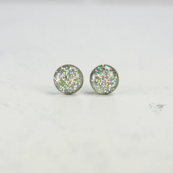 DATA - Glitter Earrings - Silver Hologram Glitter Jewelry - Bright Stud Earrings - Sparkle Earrings with Glitter by EarSugar