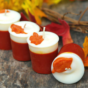 Pumpkin Scented Autumn Soy Votive Candles//Decorated with orange leaf embeds // Orange and White Colors// Box of 4 // Autumn Handmade Candle