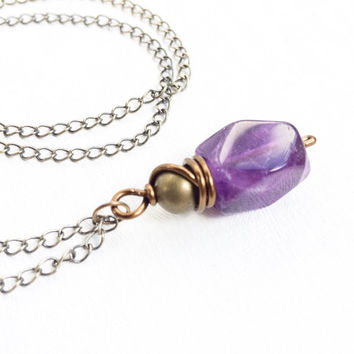 Amethyst Stone Necklace Healing, Crystal Jewelry, Wire Wrapped Crystal Necklace, Amethyst Pendant Necklace, Healing Crystal Jewelry - Wisdom