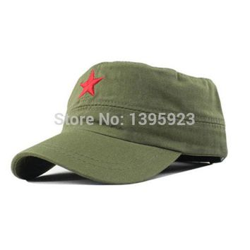 CREYON3R Hot Sale Vintage Unisex Women Men Patrol Fatigue Army Cap Fabric Adjustable Red Star Outdoor Sun Casual Military Hat