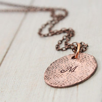 Stamped Copper Necklace, Hand Stamped Initial Necklace, Monogram Necklace Personalized Necklace, Personalized Gift Idea, Handstamped Jewelry