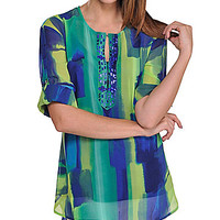 Peter Nygard Petite Printed Beaded Hi-Lo Tunic - Nygard Blue