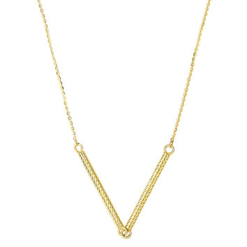 14K Yellow Gold Double Textured Hanging Hollow Cylinder Bar Pendant On 18 Inch Necklace