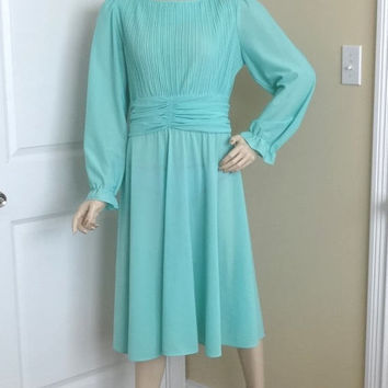 1980s Vintage Boston Maid Pleated Bodice Fashion Dress in Aqua, Size 14, Tiny Pleats, Rouched Waist, Vintage Clothing, Vintage Fashion