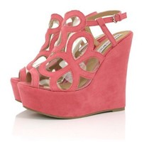 Wedge Heel Strappy Slingback Peep Toe Platform Sandal Shoes Coral