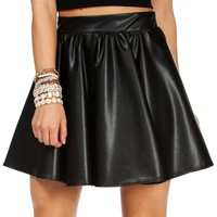 Black Faux Leather Skater