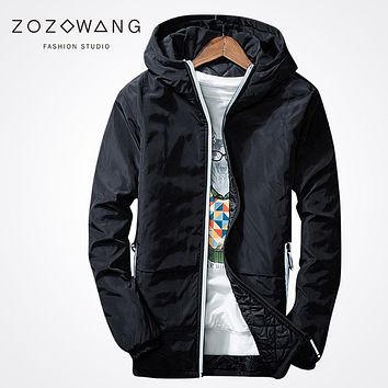 Zozowang 2017 new solid hooded keep warm motorcycle Jackets Men Pilot Air Force fashion Reflective thick Lightweight coat men
