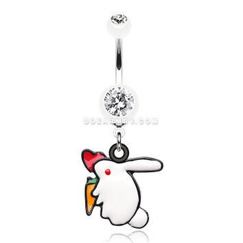 Love Bunny Belly Button Ring (White)