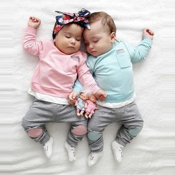 Tops+Pants 2PCS Outfits Clothes Set Autumn Newborn Infant Baby Boy Girl 2018 new kids clothes Children clothing set twins