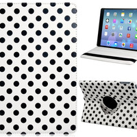 Polka Dot Print 360-Degree Rotation Faux Leather Flip Case with Stand for iPad Air (White)