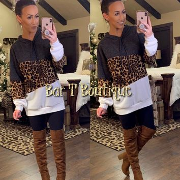 Charcoal Leopard Colorblock Hoodie Tunic