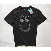 NIKE men and women couple models big smiley embroidery print short sleeve F-CY-MN Black