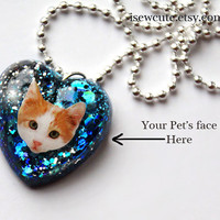 little girl jewelry, her kitten photo necklace, customized pet cat necklace, glitter heart, photo pendant necklace, resin heart, by isewcute