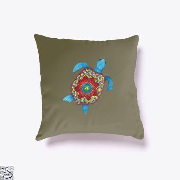 Turtley Awesome Mosaic Watercolor Turtle, Sea Turtles Throw Pillow Cover