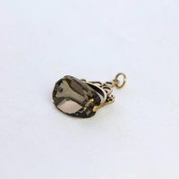 Vintage 9K Gold Smokey Quartz Watch Fob Charm Pendant Elaborate Yellow 9ct 9kt 375