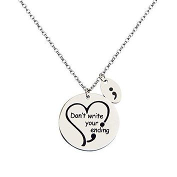 Zuo Bao Dont Write Your Ending Engraved Semi Colon Heart Charm Bangle Health Awareness Bracelet