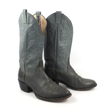 Vintage Cowboy Boots 1980s Gray Panhandle Slim tall  Western Cowgirl Women's 7 1/2 E