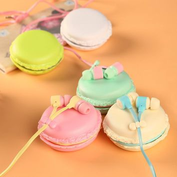 Cute Candy Color Earphones with Macaron case Headphones box for girls Kids 3.5mm Earbuds for iPhone Samsung Huawei MP3 iPod