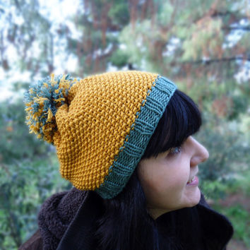 Women's hand knitted pompom hat,winter wool knit hat,slouchy knit beanie,hand knit winter cap,yellow green knit wool hat,women's accessories