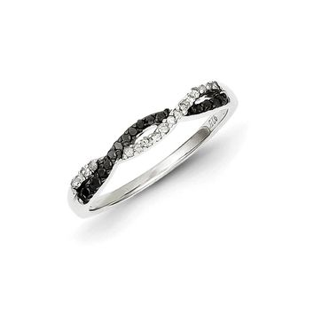 1/5 Ctw Black & White Diamond Twisted Ring in Sterling Silver
