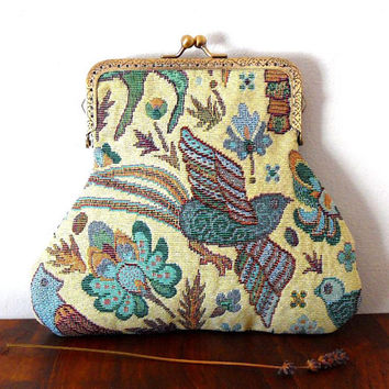 Tapestry clasp purse / embroidered / cream / cornflower / green / gold / red / flower / bird / rabbit / gift / bronze / large clasp purse