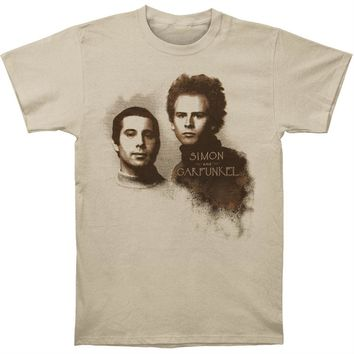 Simon & Garfunkel Men's  Faces Slim Fit T-shirt Cream
