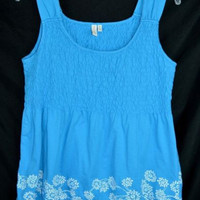 Madison Size Medium Blue Smocked Tank Embroidered White Flowers Top