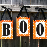 "BOO Orange,  Black, and White  5"" x 7"" Canvas Board Hand-painted Letters Halloween Sign Trick or Treat"