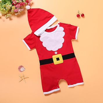Newborn baby clothes baby girls and boys clothes Christmas red and white party dress hat Santa Claus hat sliders