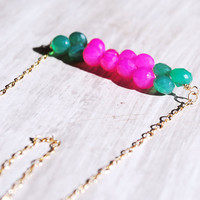 Pink and Green Necklace 14kt Gold Fill Chalcedony by starletta