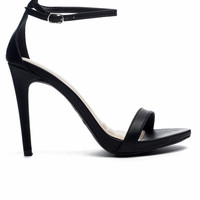 Strappy Open Toe Heel With Ankle Strap - Black