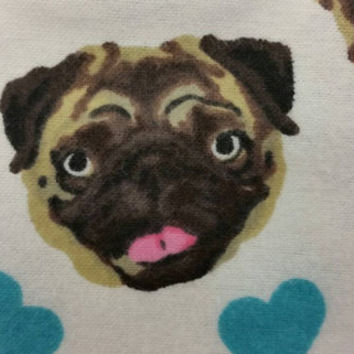 Flannel fabric with dogs I love Pugs hearts cotton quilt print quilting sewing material by the yard crafts crafting project, pug fabric