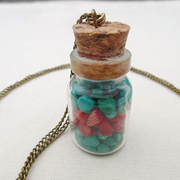 Gemstone Bottle Necklace-Magnesite and Bamboo Coral