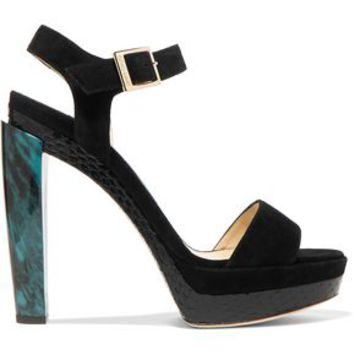 Dora snake-effect patent-leather and suede platform sandals | JIMMY CHOO | Sale up to 70% off | THE OUTNET