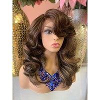"""Brown Balayage Lace Front Wig 12"""" 0619 16"""