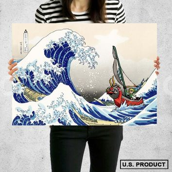 Poster Print Great Wave Off Kanagawa The Legend of Zelda Wall Decor Canvas Print - halawatani.com