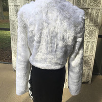White Faux Fur Crop Jacket Lined Furry Fuzzy Festival Holiday Soft Size Medium midriff length