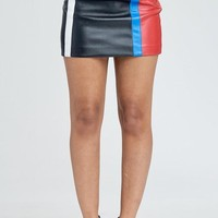 Tokyo Drift Faux Leather Mini Skirt in Black Multi