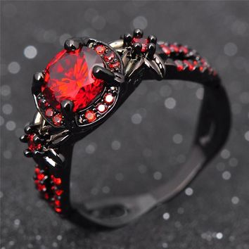 Fashion Flower Shiny Red Ring Red Garnet Women Charming Engagement Jewelry Black Gold Filled Promise Rings Bijoux Femme -171206