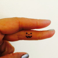 Pumpkin Face Halloween Temporary Tattoo Tiny / Fake Tattoos / Set of 10