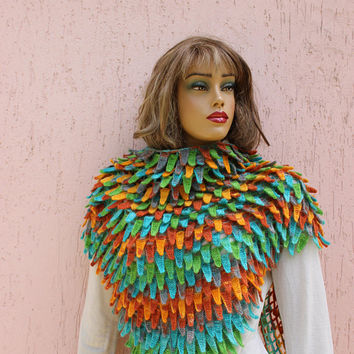 Feather Shawl Knit Shawl Rainbow Shawl Unique Shawl Winter Shawl Stylish Wrap BUY 2 GeT 1 FREE EXPRESs SHIPPING