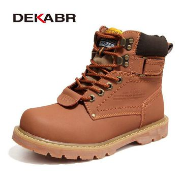 Men's Winter Snow Boots Genuine Leather Boots With Fur Shoes Quality Men Autumn Footwear Work Shoes