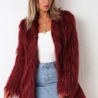 Girlgang Faux Fur Coat - Maroon - Stelly